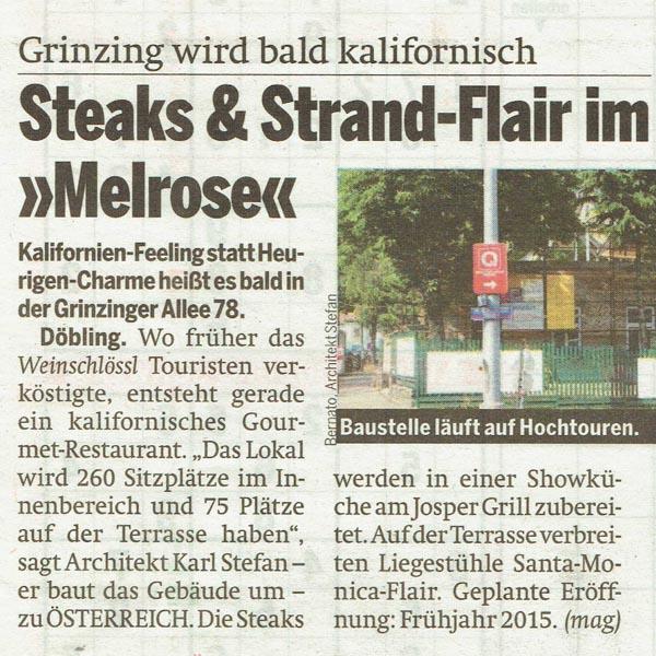 PRESSE - MELROSE - Österreich - vom 8. Juli 2014 - Seite 27